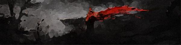 Illustration représentant le combat d'un chevalier au cœur des enfers.